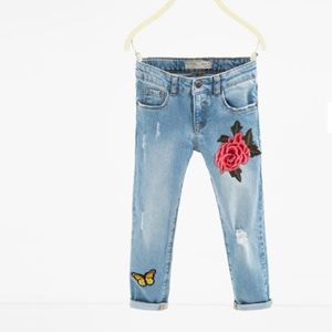 Zara girls ripped skinny jeans with patches